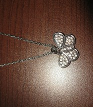 Beautiful Silver Rhinestone Butterfly Design Necklace & Pendant NEW! #D302 - $8.99