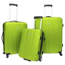 Traveler's Choice Rome 3-Piece Green Light Hardcase Spinner Rolling Lugg... - $138.59