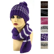 NEW WOMENS FASHION KNITTED WINTER BEANIE BERET HAT AND NECK SCARF SET HT... - $10.60 CAD