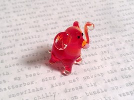 Micro miniature small hand blown glass red amber standing elephant USA made