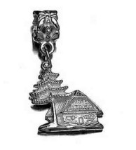 Cottage Cabin Lodge European Euro Sterling silver bead - $24.32