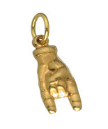 3D Solid Real Authentic Genuine 10K Yellow Gold Good luck protection han... - $197.99