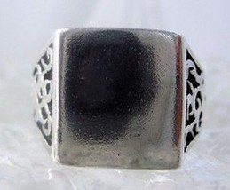 Fire Tattoo Tribal Flame Silver .925 Ring engravable - $38.55