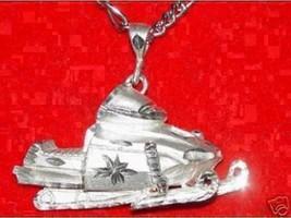 Silver Snowmobile Sports ski sled Pendant Charm Jewelry - $29.21