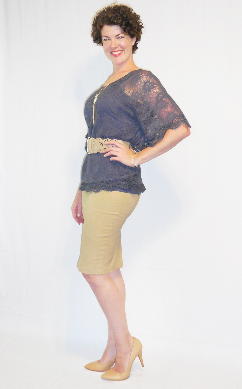 Tan Fitted Pencil Skirt, Casual Work Bodycon, Knee Length Midi, Wardrobe Staple