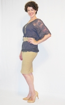 Tan Fitted Pencil Skirt, Casual Work Bodycon, Knee Length Midi, Wardrobe Staple image 1