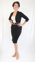 Fitted Midi Black Pencil Skirt, Wardrobe Staples, Black Fitted Skirt with Slit image 3