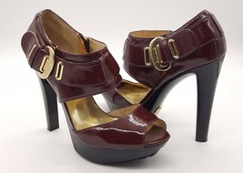 MICHAEL KORS Size 6.5 Maroon Red Burgundy Open ... - $44.99
