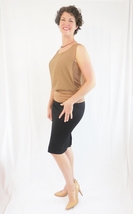Fitted Midi Black Pencil Skirt, Wardrobe Staples, Black Fitted Skirt with Slit image 6