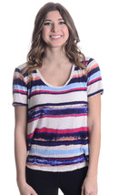 M Splendid Womens Mirage Stripe Short Sleeve V-Neck Rayon Jersey T-Shirt... - $31.68