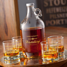 Pesonalized Whiskey Distillery Growler Set - Customized Bar ware Collection - $63.04