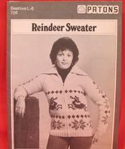 Vintage Beehive Knitting Patterns SWEATER Jacket ADULTS Sizes Reindeer Design - $4.95