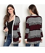 Hippie Boho Chic Fringe Cardigan Sweater Small NWOT - $44.95 CAD