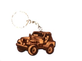 Military Style Car Wooden KEYCHAIN Lot Pack 6 J... - $13.35