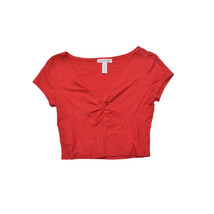 Ambiance Apparel Red Crop Top V Neck Hot Cute Show off the Navel Size S ... - $11.64
