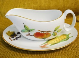 Royal Worcester EVESHAM GOLD Gravy Boat with Underplate/Platter - $74.24
