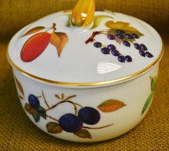Royal Worcester EVESHAM GOLD Butter Tub & Lid Corn Finial - Purple Berries - $74.24