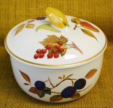 Royal Worcester EVESHAM GOLD Porcelain Butter Tub & Lid Corn Finial Red ... - $74.24