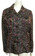 NWT Oriental Jacket M Coldwater Creek Black Embroidered Purple Metallic ... - $39.55