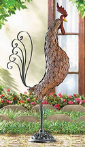 Wrought iron rooster bird outdoor yard patio deck garden metal sculpture... - $31.00