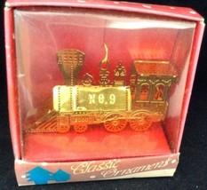 Vtg Pierced Brass Christmas Ornament Steam Locomotive No 9 Unopened in B... - $9.84