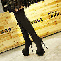 pb128 supper high heeded over knee boot, suede leather, US Size 3-10,black - $68.80