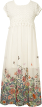 Big Girl Tween 7-16 Crochet Lace Chiffon Border Maxi Dress, Bonnie Jean