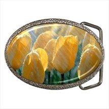 Yellow Tulips Flower Chrome Finished Belt Buckle - $9.86