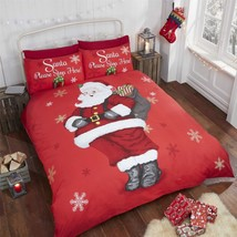 Navidad Papá Noel Please Stop Aquí Copos de Nieve Rojo Doble 4 Piezas Ju... - $59.88