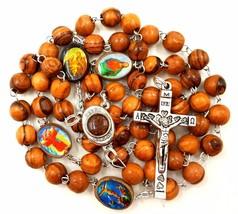 BLESSED CATHOLIC ROSARY BEADS NECKLACE Olive Wood Saints Cross Crucifix ... - $12.11
