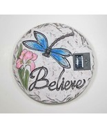 "Solar Lighted Dragonfly ""Believe"" Decroative Cement Stepping Stone 12"" Dia - $31.63"