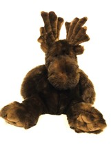 FAO Schwarz Chocolate Brown Sitting Moose Plush Stuffed Animal Toy Large... - $55.74