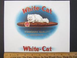 WHITE CAT Embossed Cigar Box Label Insert Litho... - $14.35