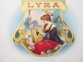 Vintage Original LYRA Cigar Box Embossed Label ... - $9.84