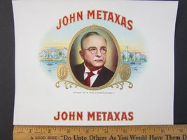 1941 JOHN METAXAS Embossed Cigar Box Label Inse... - $19.78