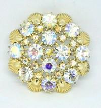 1950s Gold Tone PEGASUS CORO Clear AB Rhinestone Flower Pin Brooch - $39.59
