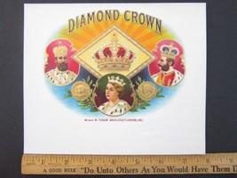 DIAMOND CROWN Cigar Box Embossed Label Queen Go... - $16.59
