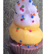 banana split cupcake soap, ice cream soap, bar soap, glycerin soap, glyc... - $5.75