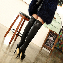 pb129 elegant supper high heels over the knee boot,PU leather, US Size 4-9, blac - $68.80