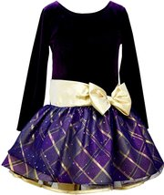 Little Girl 2T-6X Purple/Gold Velvet to Metallic Plaid Taffeta Drop Waist Dress