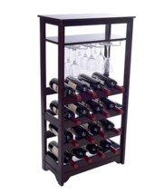 Wood Wine Rack with Glass Hanger Storage, Dark ... - $98.00