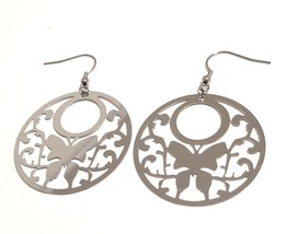 Ladies Stainless Steel round shape Dangle Earrings with a butterfly design - $11.83