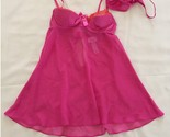 NEW La Senza Lace Trim Cup Babydoll and G-string 2PC Set 20205380 Pink Small