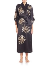 NEW Natori Empress Embroidered Charmeuse Long Robe Z74060 Black S  * Ret... - ₨20,249.11 INR