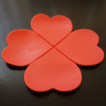 5 Pcs Red Flower Shaped Silicone Flower Mug Coasters Mats Pad Coffee Tea... - $6.79
