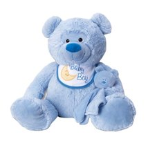 13'' BABY MOUFLEZ BEAR WITH BIB AND BLANKIE (BLUE) - $14.99