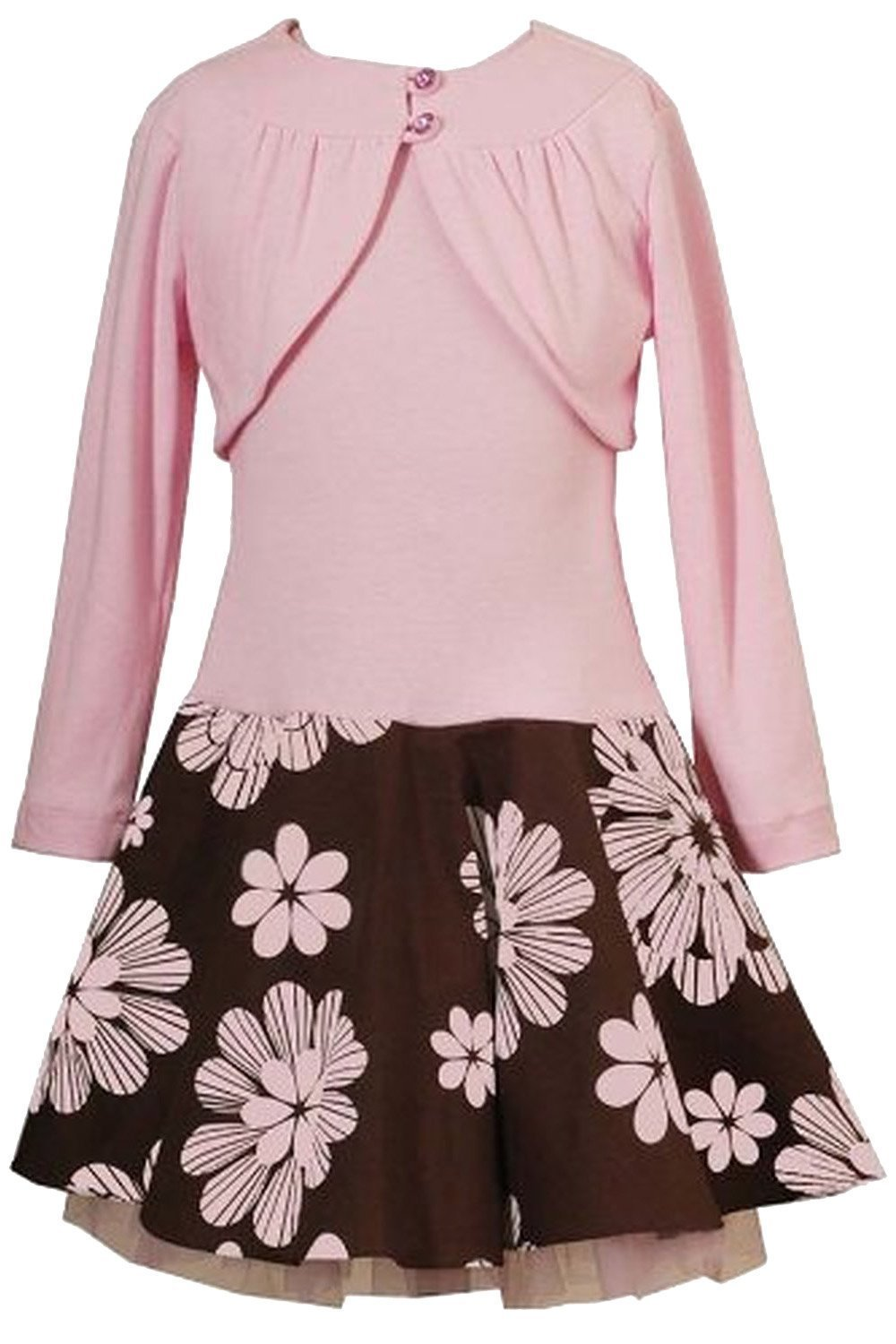 Big Girls Tween Plus Size Pink Brown Drop Waist Dress/Jacket Set RARE EDITIONS