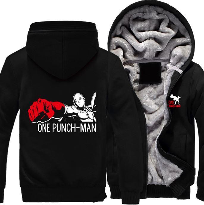 Anime Characters Jacket : One punch man saitama anime character all black zipper