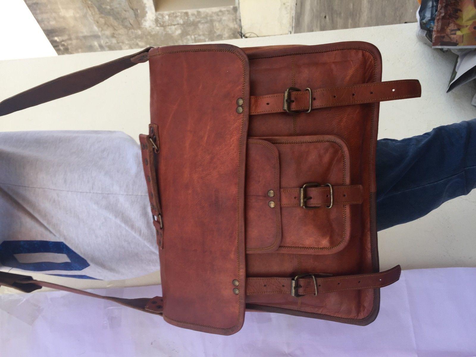 2017 Men's Vintage Looking Leather Messenger Bag Briefcase Shoulder Bag Handmade image 4