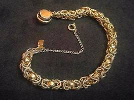 "7"" Gold Tone Bracelet Round Double Chain Links, Safety Chain - $13.25"